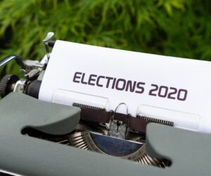 Typewriter with white page saying Elections 2020